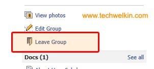 """Leave group"" option is available on every group's page."
