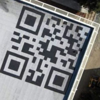 QR Code on the rooftop of Facebook Head Quarter building.