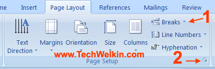 Page orientation menu in MS Word.