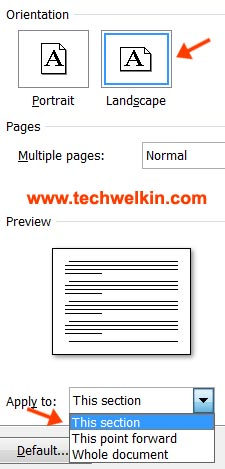 Selection of page orientation in MS Word.