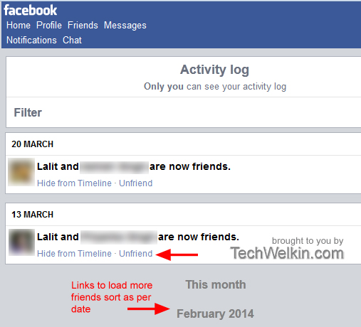 Click on UNFRIEND link to quickly remove friends from your list.