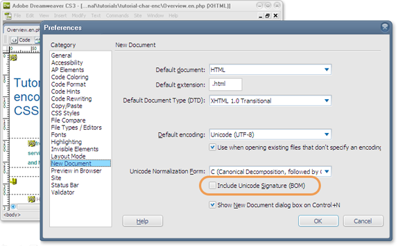 Setting UTF without BOM character in Macromedia Dreamweaver