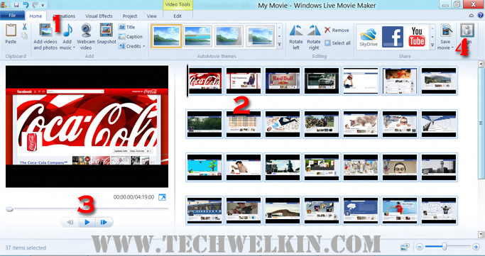 Screen of Windows Movie Maker