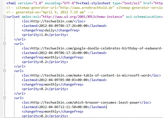 Sample XML sitemap for search engines