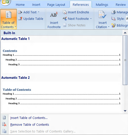 Insert Table of Content in MS Word