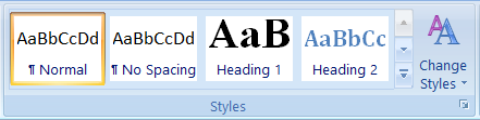 Styles box on MS Word Ribbon Bar
