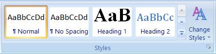 Styles box on MS Word Ribbon Bar