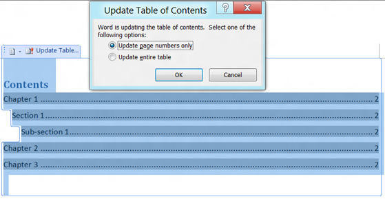 Update Table of Content in MS Word