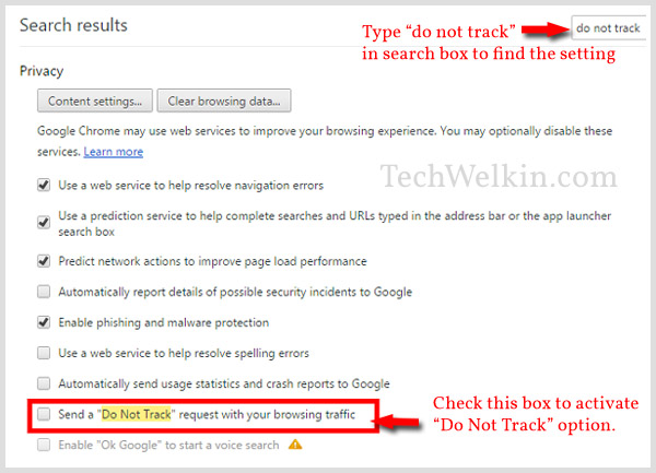 Do Not Track option in Google Chrome.