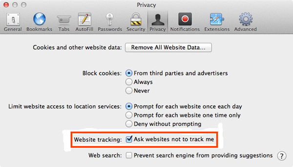 Do Not Track option in Safari browser.