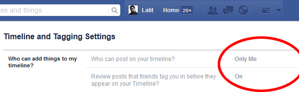Facebook Timeline and Tagging Settings.