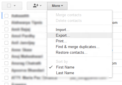 Menu showing Export option in Google Contacts