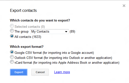Box displaying export options...
