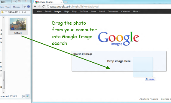 Drag an image from your computer onto Google Image Search page.