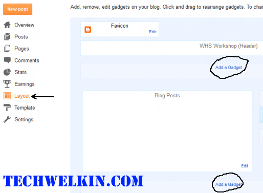 Layout tab in Blogger