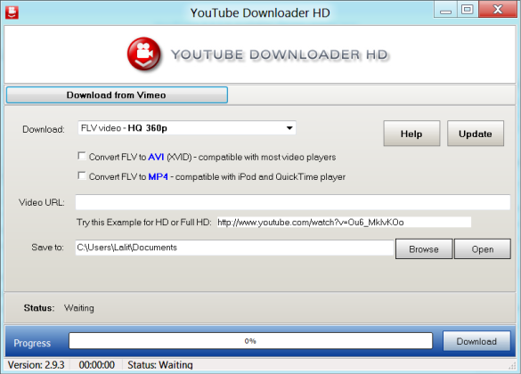 Screen of YouTube Downloader HD