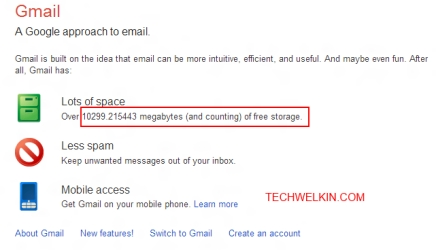 Image of Gmail storage space counter