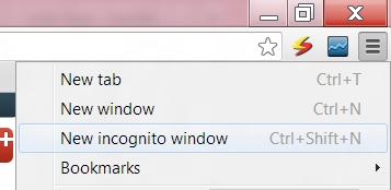Image of InCognito mode in Google Chrome