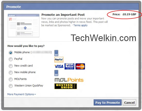 Promote your updates on Facebook