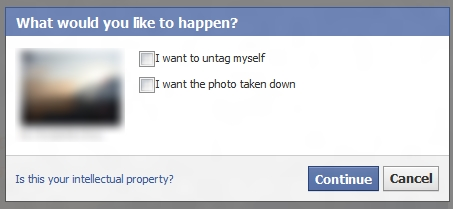 Facebook untag dialog box