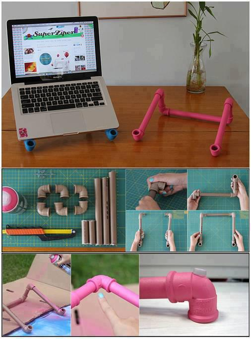 Process of making laptop stand using pipes and elbows