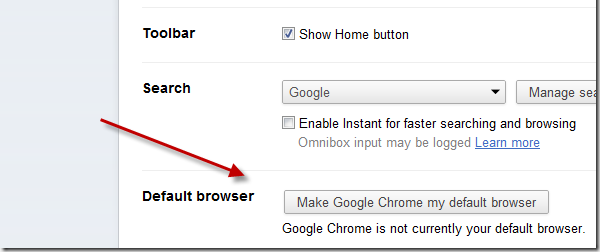 Google Chrome screen showing how to set default browser