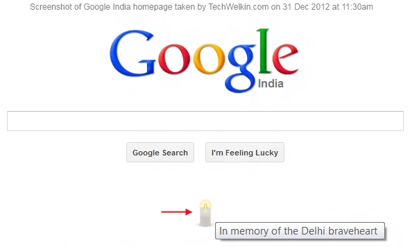 Image of Google mourns the death of Delhi gangrape victim