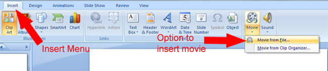 Insert menu in Microsoft PowerPoint