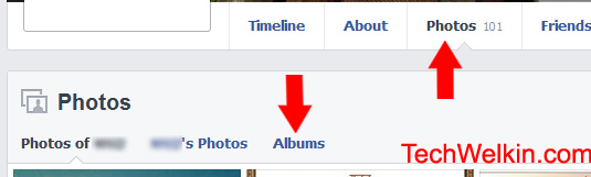 Facebook: Links for Photos and then Albums