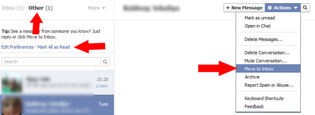 Options in Other folder of the Facebook message service