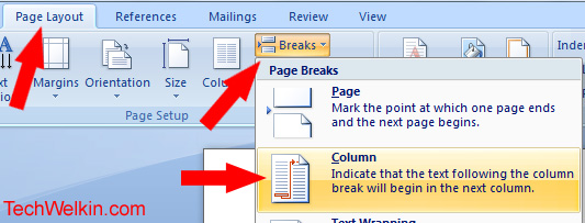 Insert Column Break in MS-Word