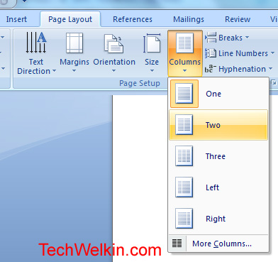 Insert Columns in MS Word