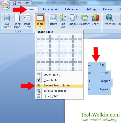 Image showing Convert Text to Table option