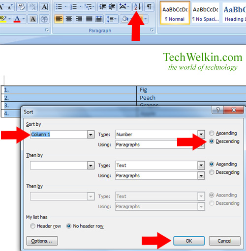 Image showing Sort Table Dialog Box