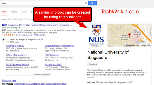 rel=publisher markup creates a similar box in serp