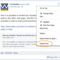 Menu showing the Embed Post link