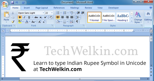 How to Type Indian Rupee Symbol INR in HTML and MS Word