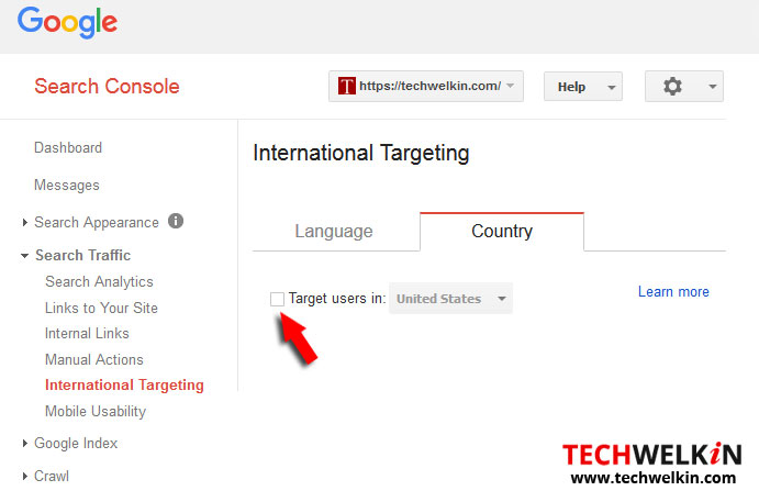 Setting International Geographic Target in Google Search Console