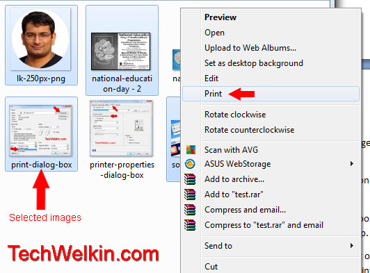 Select multiple images and take right click on one of the selected pictures.
