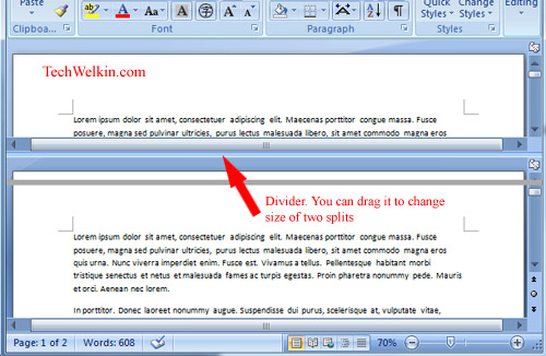Ms Word How To Split A Document In Two Windows