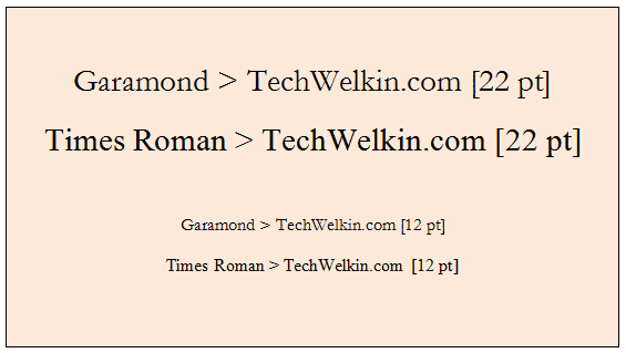Relative point sizes of Garamond and Times Roman fonts.
