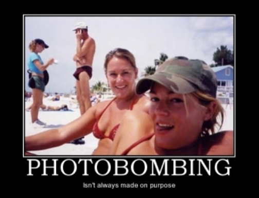 Avoid photo bombs. Check your surroundings before you take a selfie.