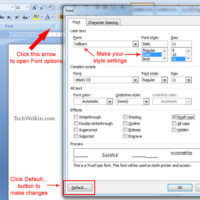 This is how you can change default font settings in MS Word document.