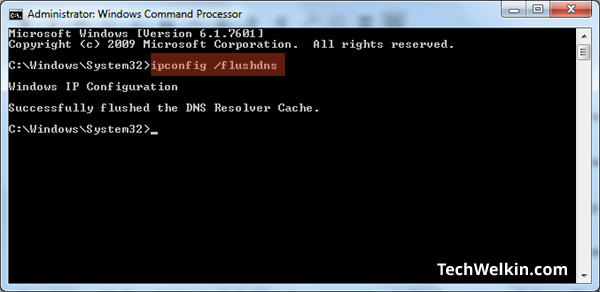 Command to flush DNS in Windows.