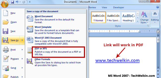 Links in PDF will work if you'll use built-in facility of MS Word.