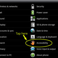 Accessibility option in Android settings