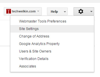 Google Webmaster Tools Settings Menu.
