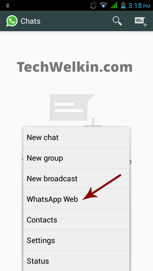 WhatsApp Web option in an Android based mobile phone. This option allows you to use WhatsApp on PC.