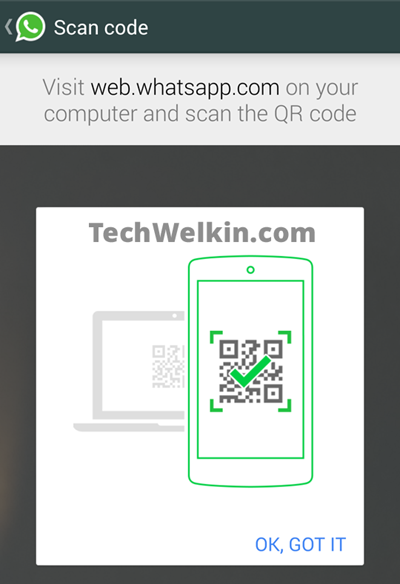 WhatsApp Web help screen. It prompts you to scan QR Code.