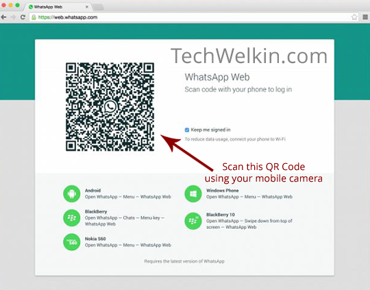 WhatsApp Web QR Code in a Google Chrome browser. This code needs to be scanned for using WhatsApp on PC.